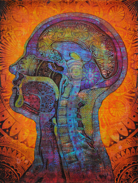 Ornamented Man (Blue Orange)   Acrylic and four color screen print on wood 12 x 16 inches